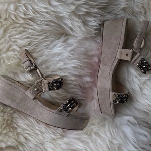 Christian Louboutin beige suede spikes wedges
